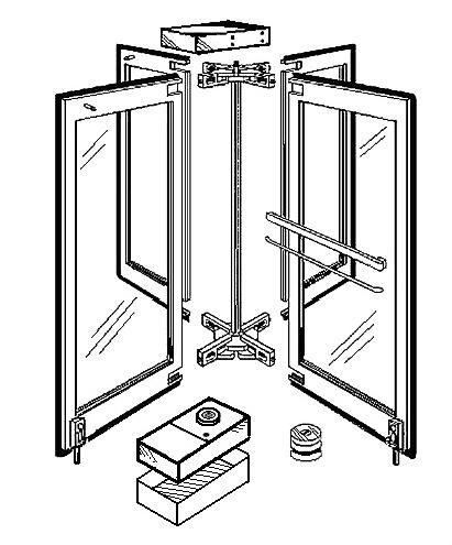 Midwest Revolving Door Company door diagram with floor